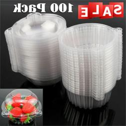 100X Disposable Plastic Cup Cake Boxes Muffin Case Fruit Hol
