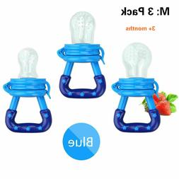3 Pack M & L Baby Fruit Food Feeder Pacifier Silicone Nipple
