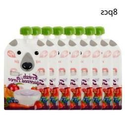 8X Resealable Fresh Squeezed Pouch Baby Weaning Food Puree R