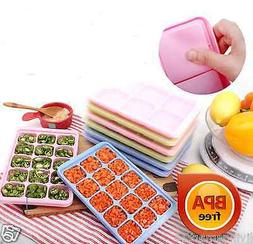 Ice cube tray,mold with lid,Baby food storage and Freezer,in