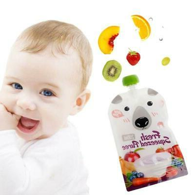 8X Fresh Pouch Baby Puree Reusable Squeeze Bags
