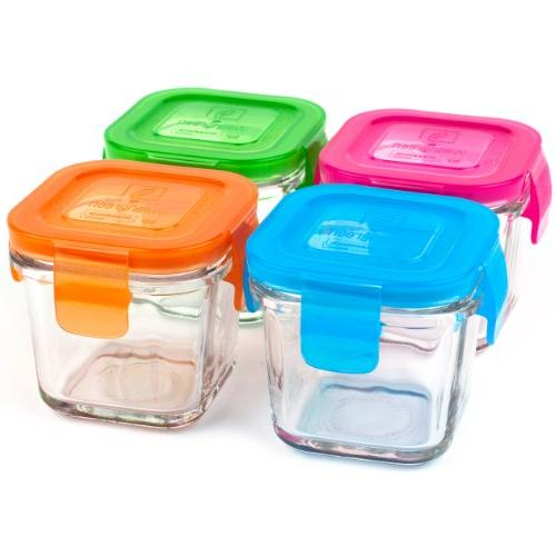 Wean Glass Food Containers, Cube Ounces, Garden Pack