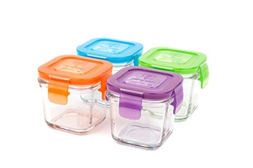Wean Green Glass Baby Food Storage Containers, Wean Cube 4 O
