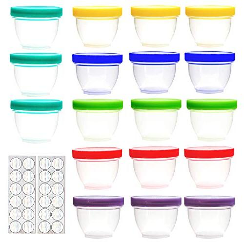18 Storage, oz Food Containers with 6 Assorted Colors, with Free Labels