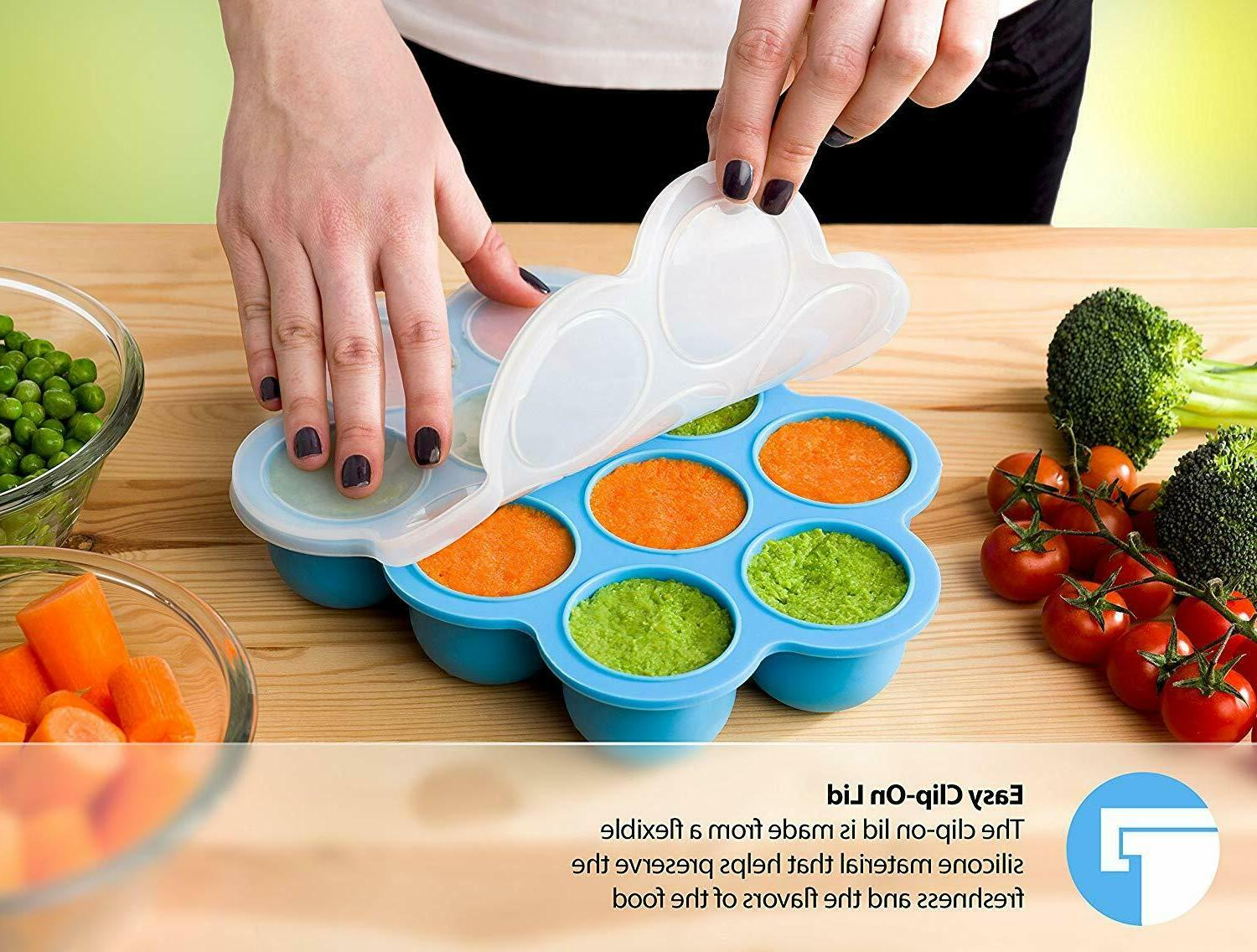 SILICONE FREEZER TRAY AND STORAGE CONTAINER W/CLIP-ON LID 10