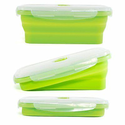 Thin Food Containers of Collapsible w/ Airtight Lids