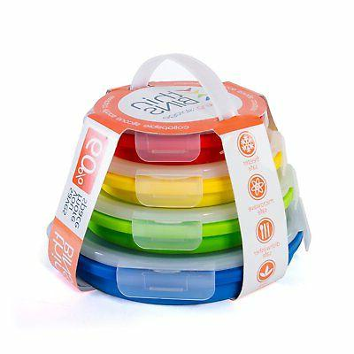 Thin Bins Food Containers - Set of Collapsible Airtight Lids
