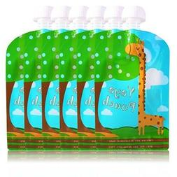 Yaya Reusable Baby Food Pouch 8 Pack, 5 oz Refillable Squeez
